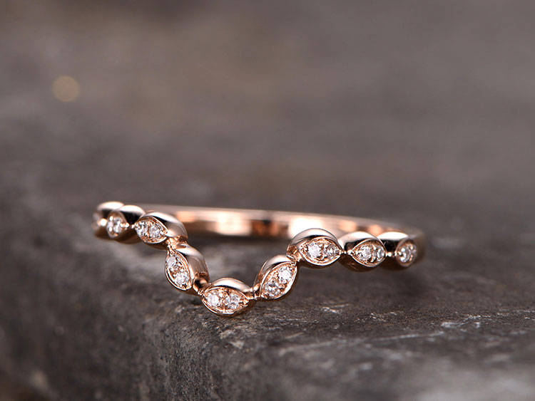 Curved Sharp V Shape Gap Ring/sterling Silver Ring/Rose Gold Plated Wedding Band/Cz Ring/stackable Ring/Matching Band/Marquise Band