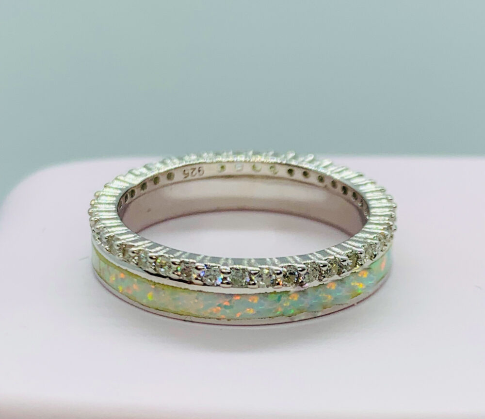 Opal Ring-White Band-Opal&diamond Eternity Band, Ring-Eternity Ring-Promise Ring-Silver Band-Wedding Ring-stack Ring