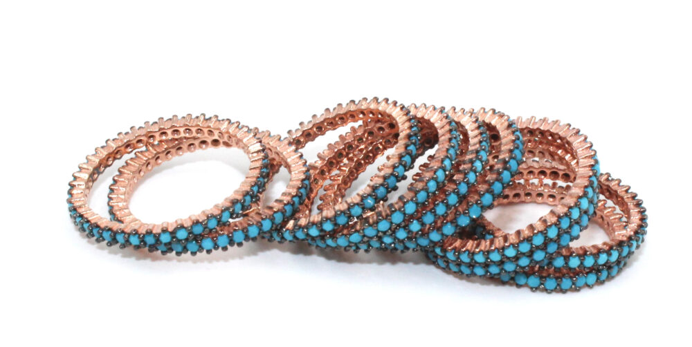 Rose Gold Plated Sterling Silver Turquoise Eternity Band, Ring, Band