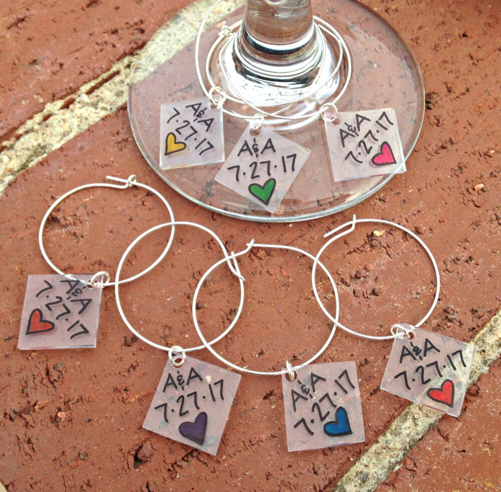 Wedding Wine Charms, Favors, Tags, Glass Charms Personalized, Custom Markers