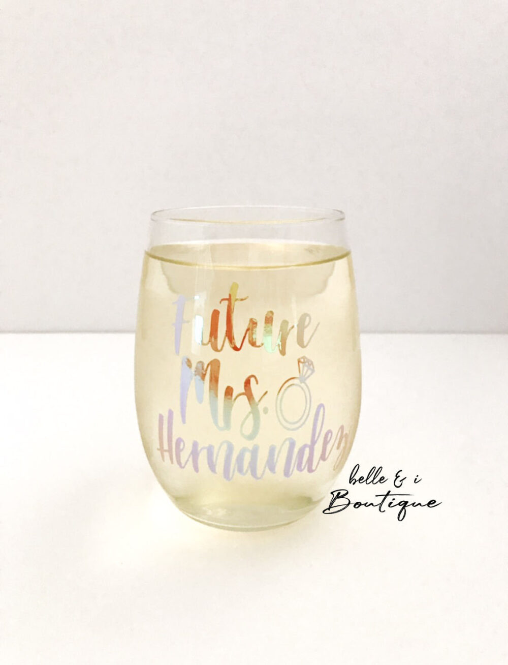 Future Mrs. Wine Glass, Personalized Stemless Custom Gift, Holographic, Wedding, Engagement