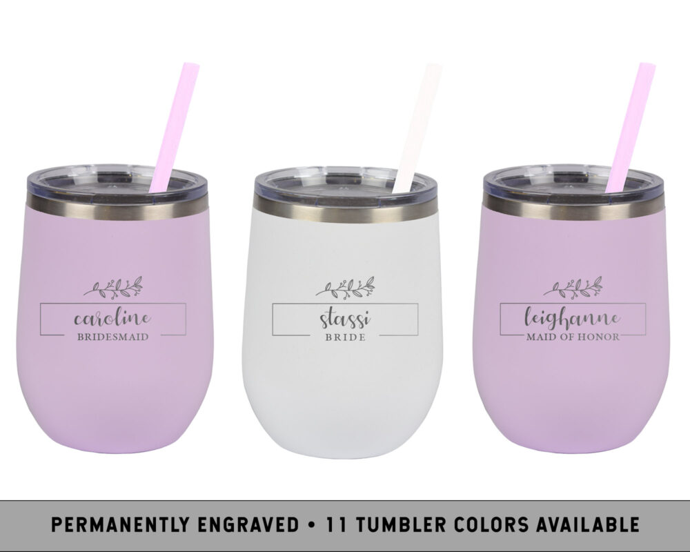 Rustic Wine Tumblers | Custom Wine Tumbler Personalized Bridal Party Gifts Bridesmaid Proposal Cup Simple Wedding Cups