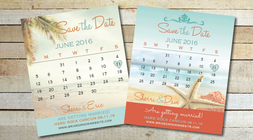 Magnet Save Date Calendar Cards, Two Styles To Choose From, Coral & Turquoise Beach Colors