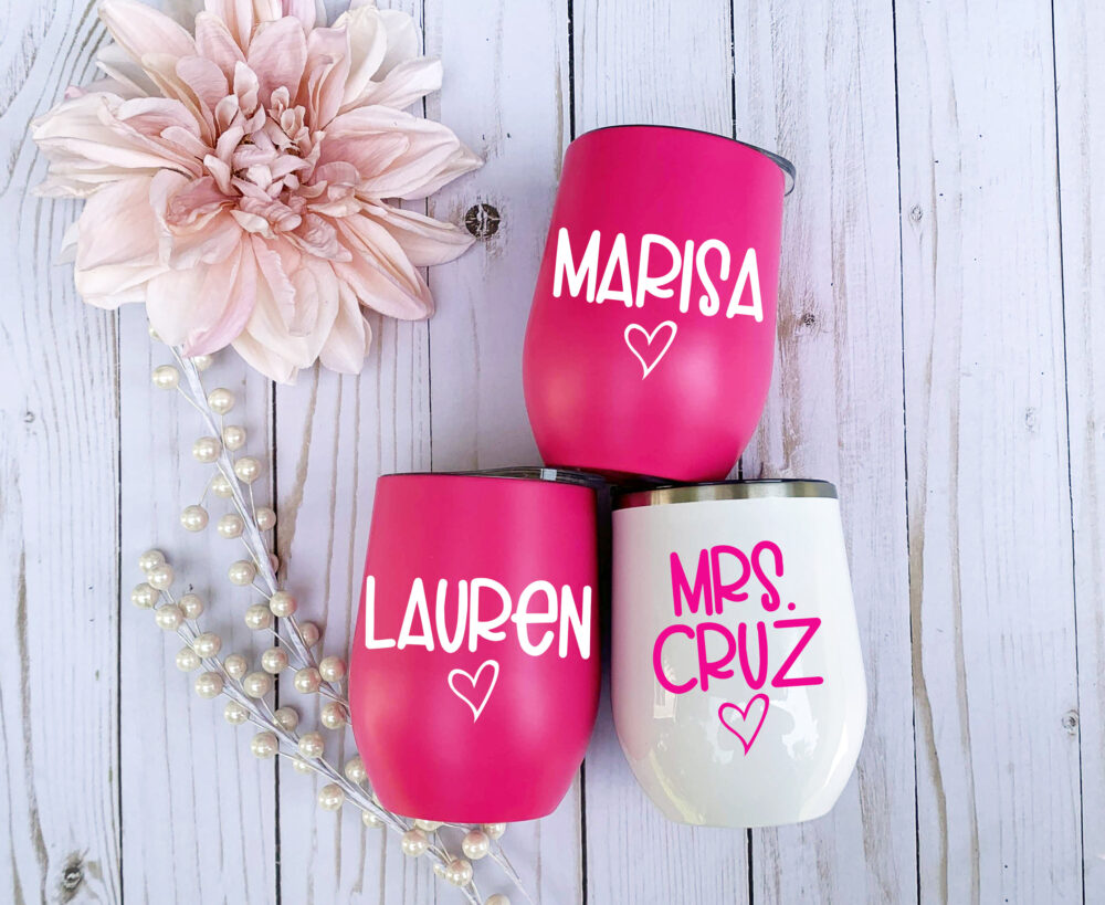 Personalized Wine Glass, Custom Bridesmaid Gift, Bachelorette Party Favors, Bride & Cups, Stemless Wine Tumbler