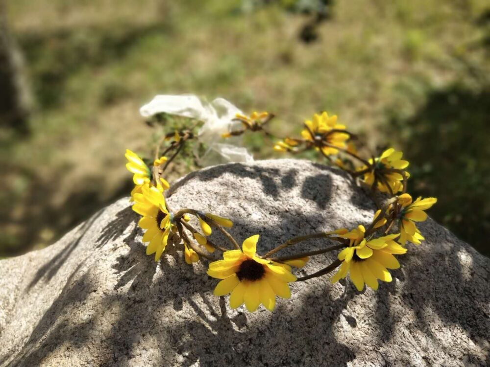 Sunflower Crown, Autumn Flower Crown. Baby Wedding Flower Girl Headband. Bridal Crown B6