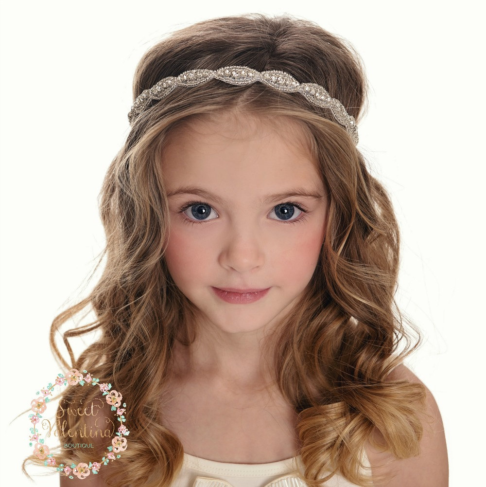 Rhinestone Bridal Headband, Wedding Flower Girl Headband, Crystal Bohemian Baby Headbands, Baby Headband