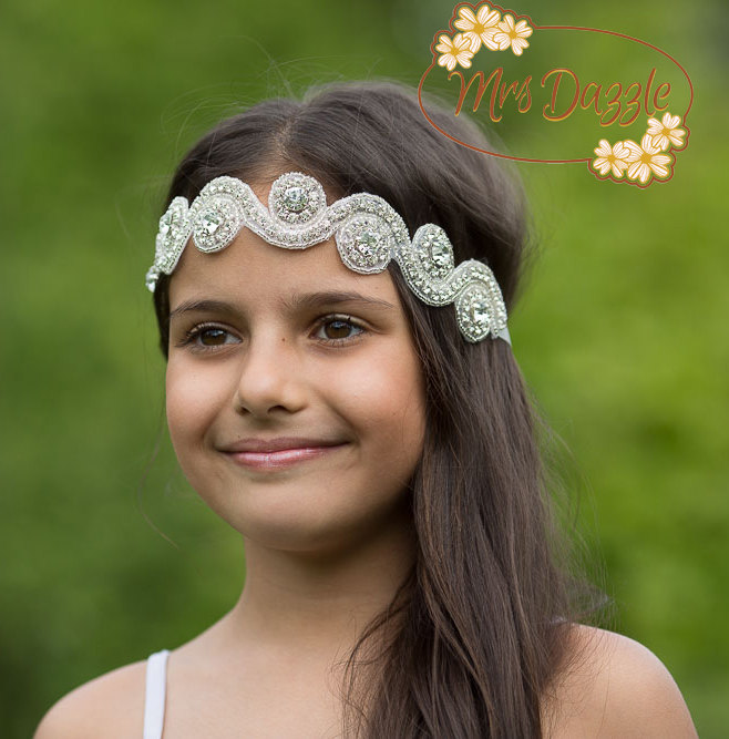 Crystal Rhinestone Headband, Blink Girls Headband, Vintage Headband, Crystal Flower Girl Headband, Girls Wedding Baby Headband