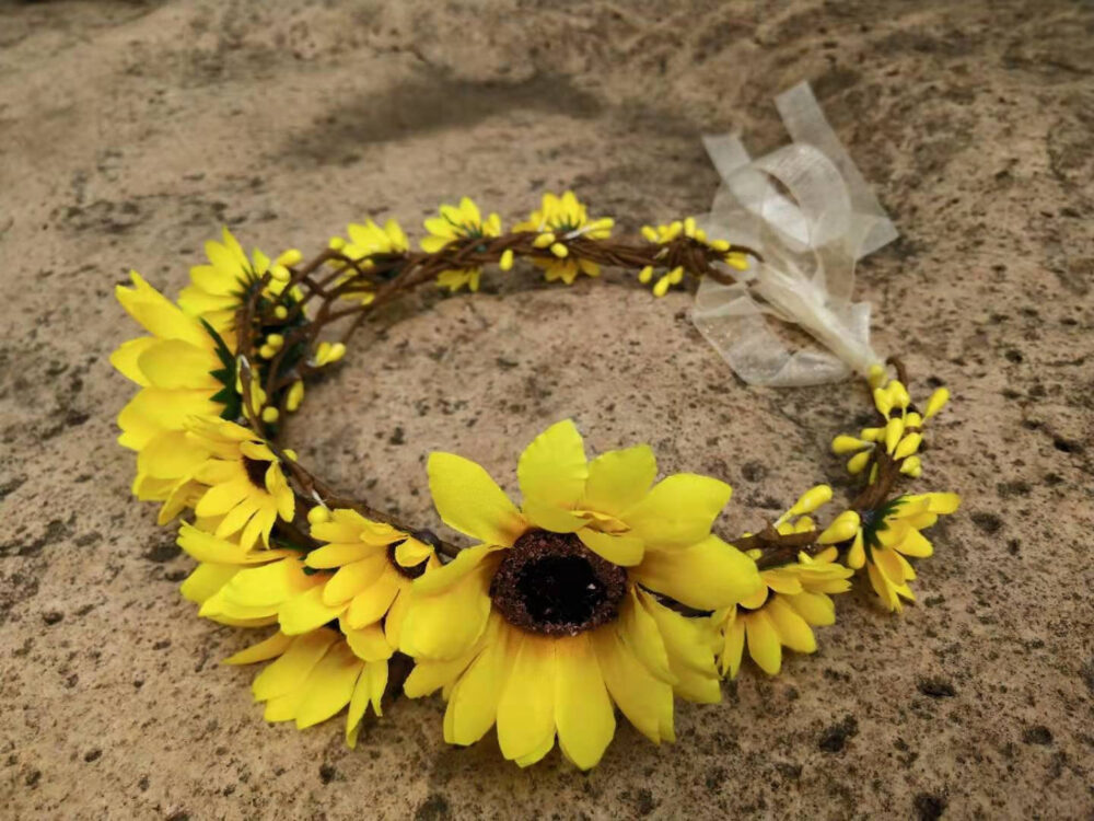 Sunflower Crown Summer Flower Women Baby Wedding Flower Girl Headband Bridal Crown