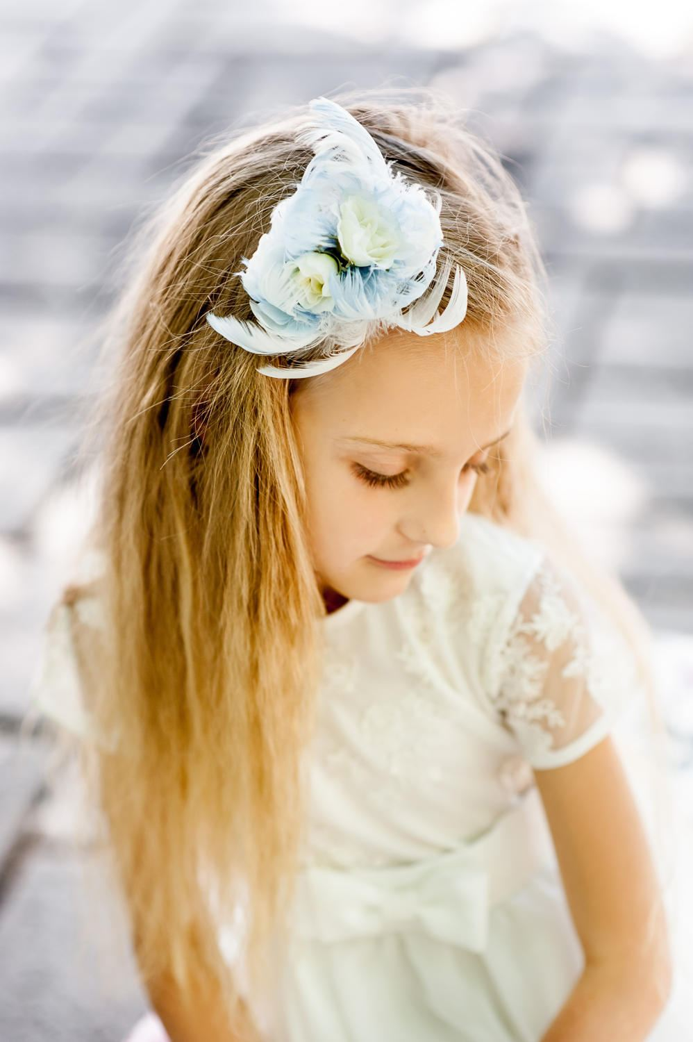 Handmade Flower Girl Hair Piece. Flower Girls Headband. Wedding Princess Accessory. Head Gift
