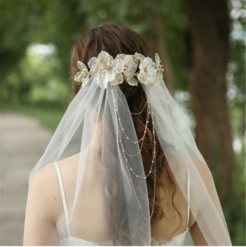 3-D Flower Wedding Veil Soft Bridal Sequin Floral Fashion 2020 Headpiece Ivory Accessory