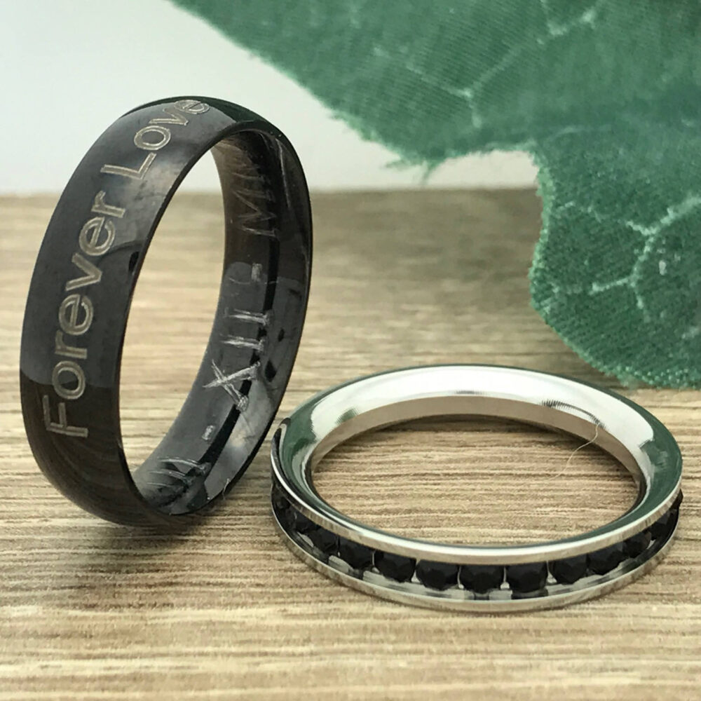 6mm/3mm Stainless Steel Rings, Personalize Engrave His & Hers Rings Wedding Ring Sets, Eternity Band
