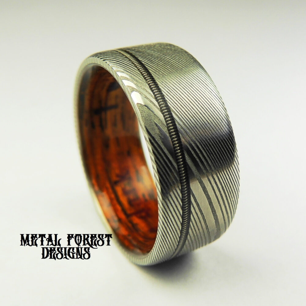 Stainless Damascus Steel Ring With Cocobolo Wood Liner Guitar String Inlay, Sale, Wedding Band, Ring