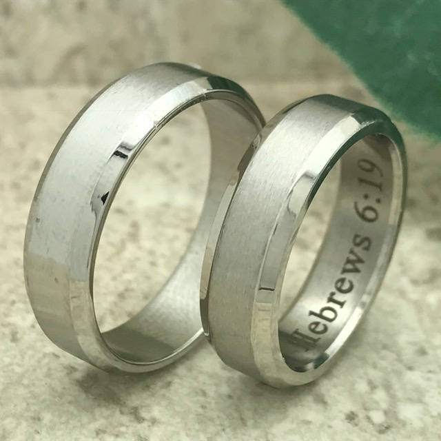 Personalize Rings Engraved Rings, Stainless Steel Ring Silver Rings, Couples Set, Custom Promise Rings, Wedding Bands-Ssr570