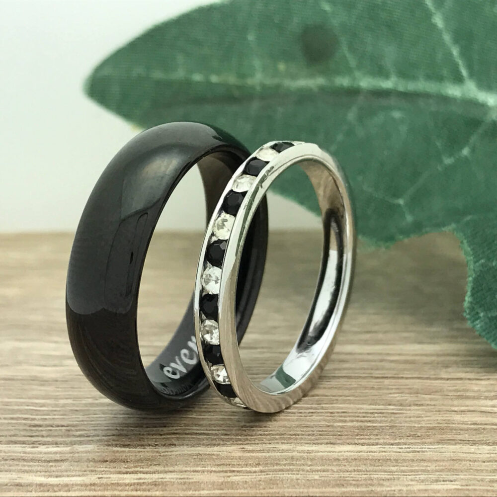 Personalize Engrave His & Hers Stainless Steel Rings Wedding Ring Sets, 6mm/3mm Rings, Stainless Eternity Band