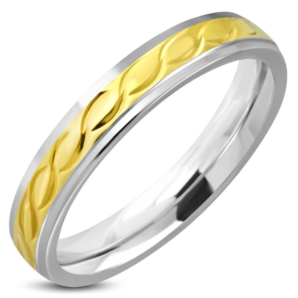 4mm Stainless Steel 2-Tone Celtic Twisted Comfort Fit Band Ring- Beautiful Promise, Wedding, Or Birthday Ring For Her - Free Engraving