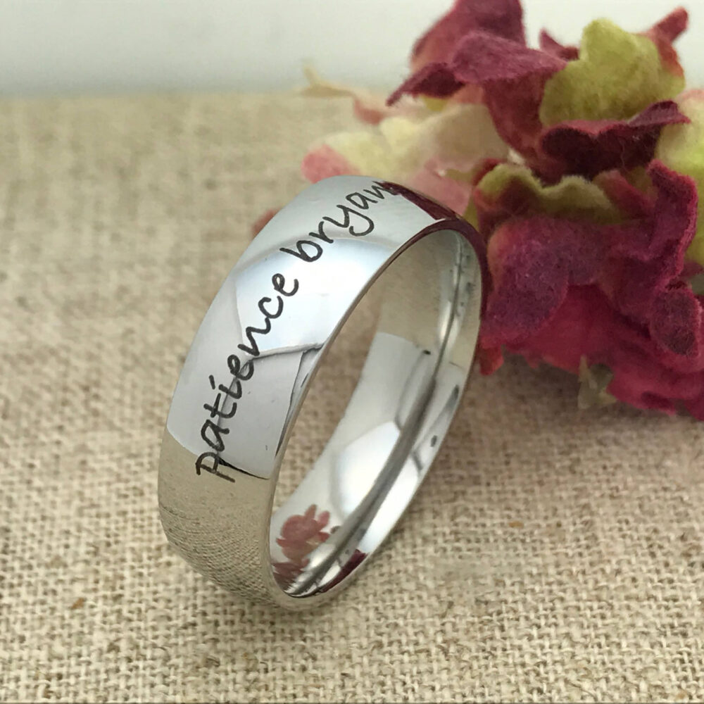 Personalized Stainless Steel Ring, Custom Promise Ring For Him, His Wedding Band, Purity Date Friendship