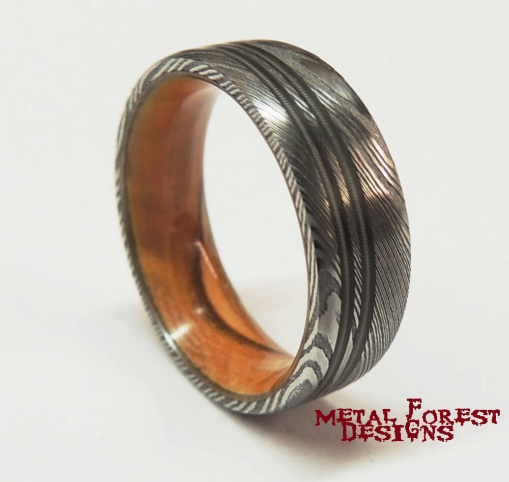 Stainless Damascus Steel Ring Bethlehem Olive Wood Liner Guitar String Inlays, Sale, Wedding Band, Ring
