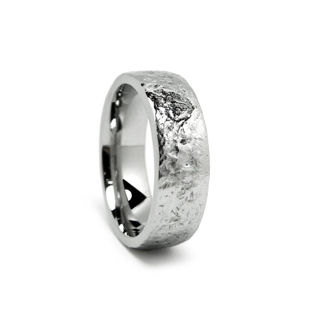 Rough Pattern Wedding Band Ring in Stainless Steel 3mm 4mm 5mm 6mm By Taormina Jewelry