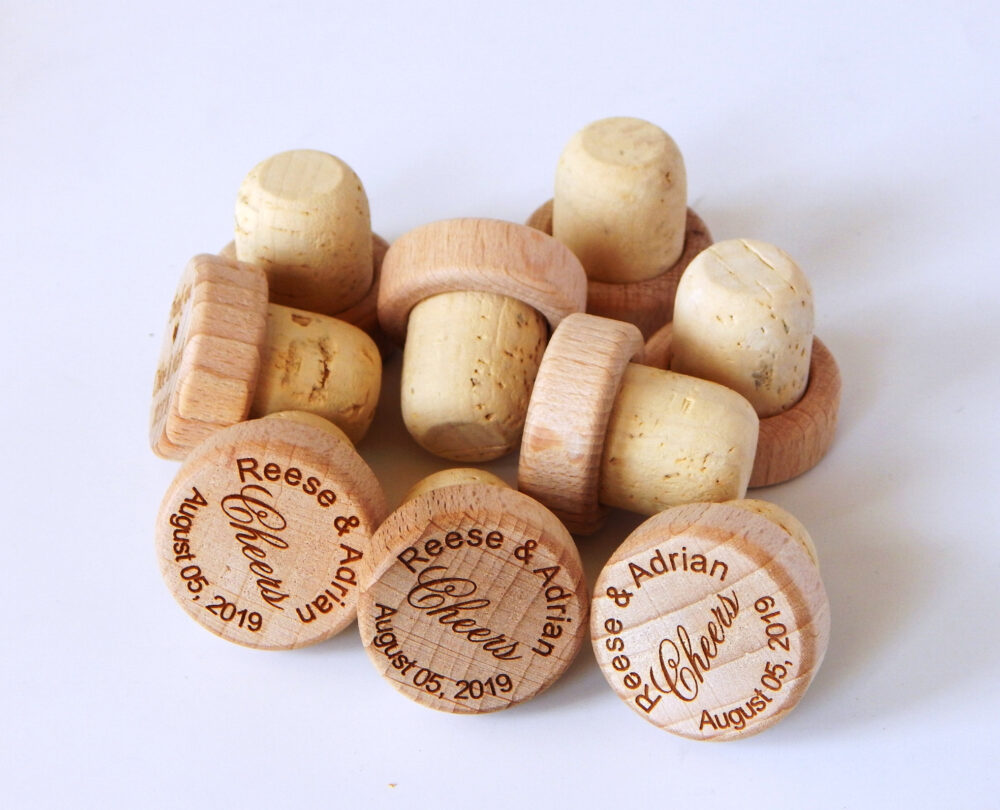 Personalized Bulk Wine Stoppers - Engraved Cork Stopper Wedding Party Favor