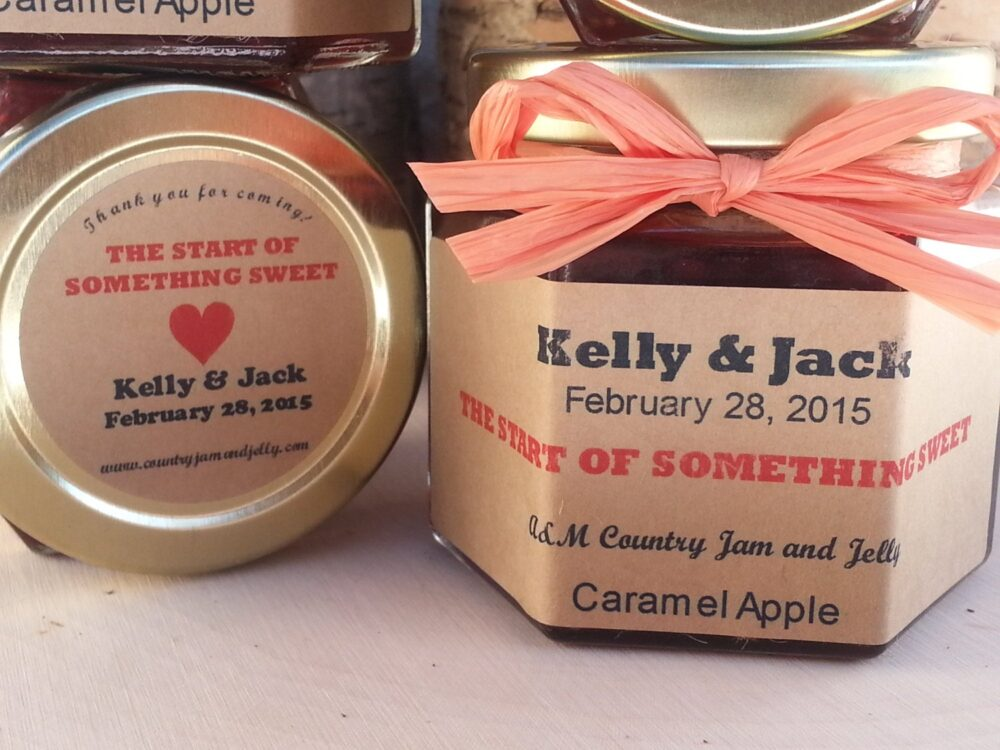 Spread The Love Wedding Favors Jam & Jelly Jars 50-1.5 Oz Jars with Choice Of Flavors, Personalized Labels, & Colored Raffia Ribbon