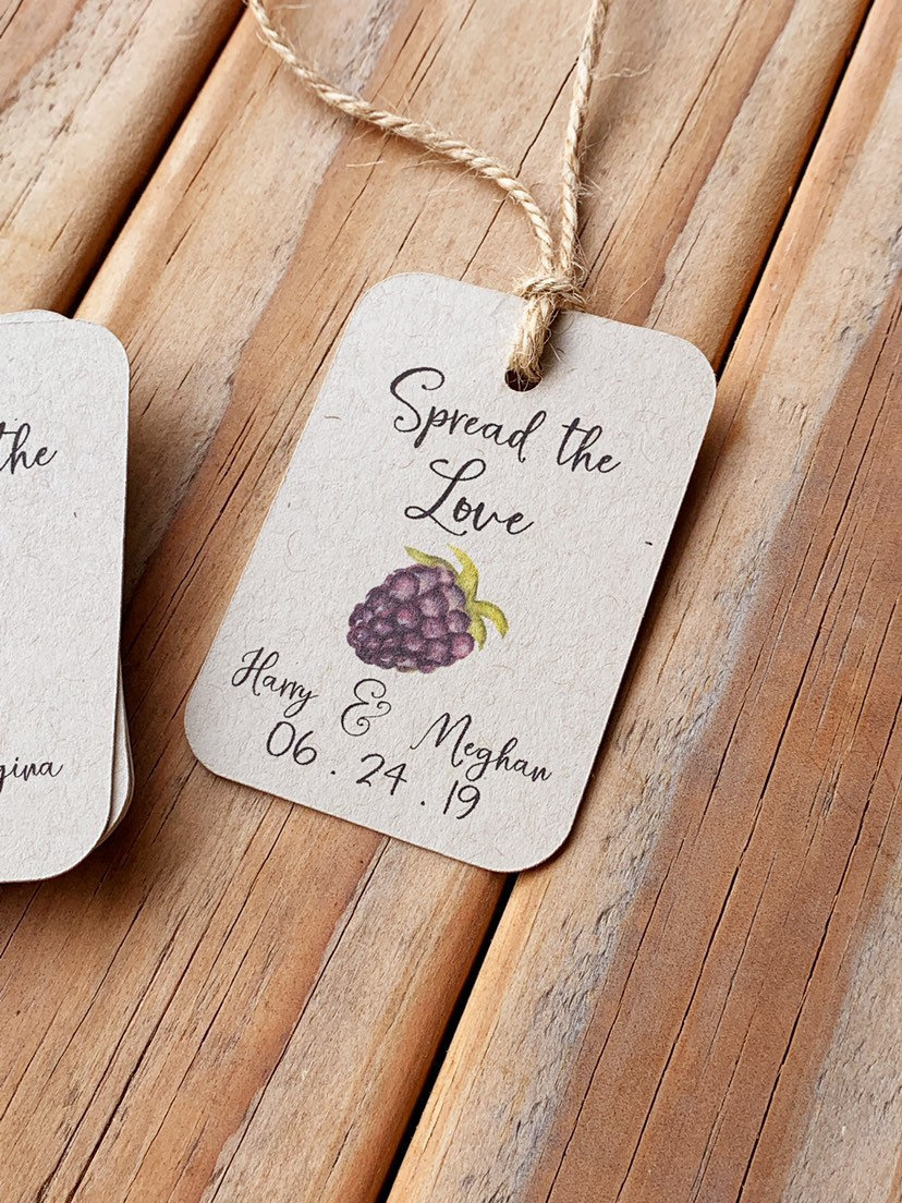 Spread The Love Fruit Preserves Jam Jelly Wedding Favor Tags