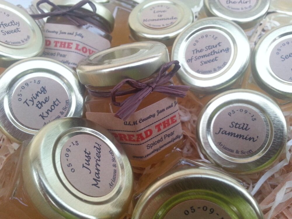 Wedding Favors Rustic Jam Jars 501.5Oz Jars with Choice Of Flavor, Personalized Top & Side Label & Colored Raffia Ribbon