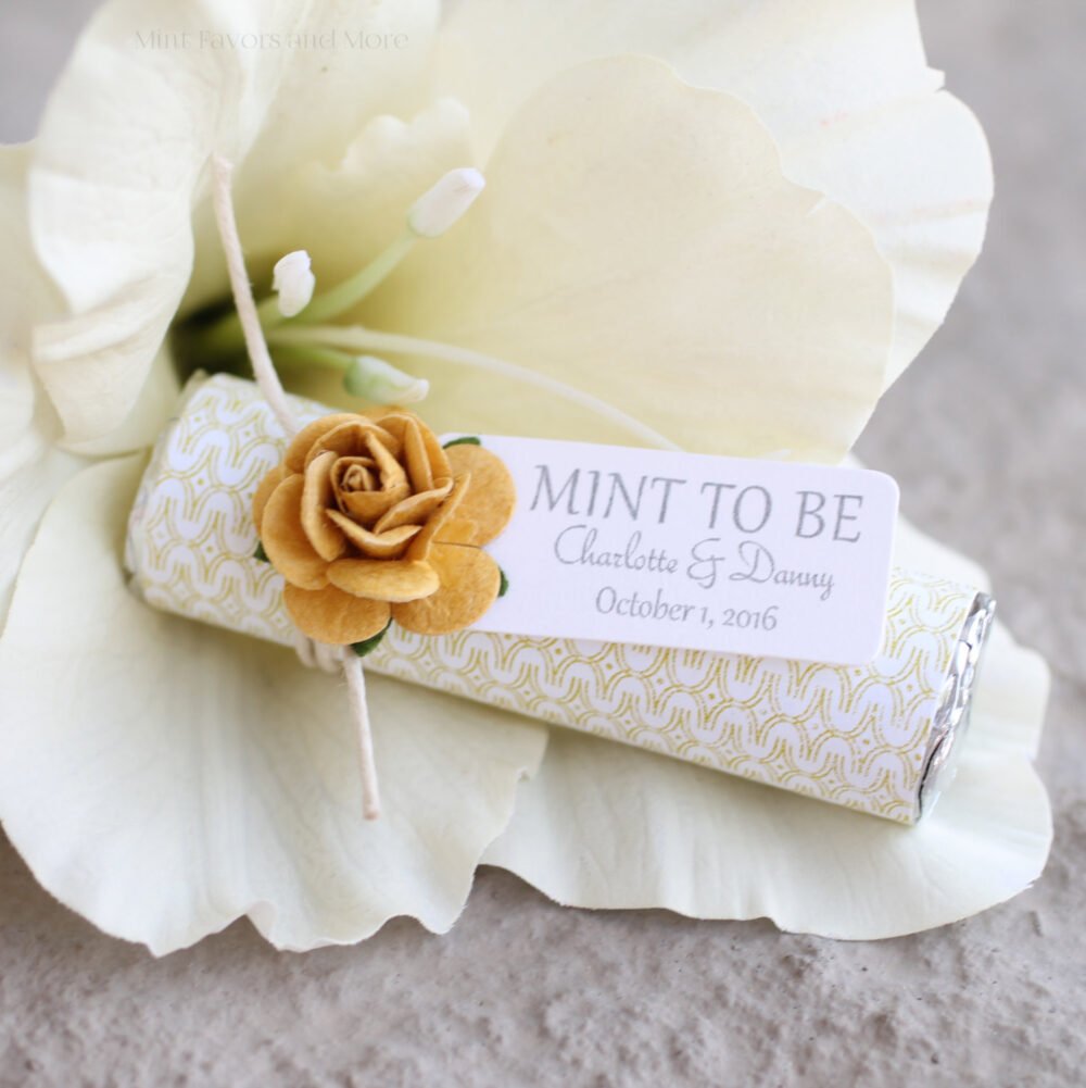 "Gold Wedding Favors, Custom ""Mint To Be"" Favors With Personalized Tag - Choose Any Rose Color, Mod Theme, Gold Details"