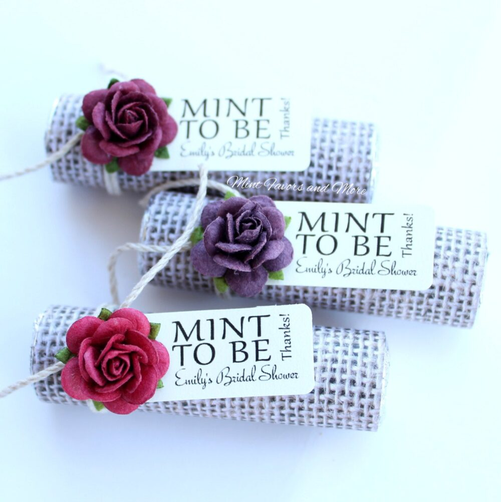 Mint To Be Favors With Personalized Tag - Set Of 24 Wedding Favors, Burlap, Rustic, Fall Theme, Autumn, Chic, Country
