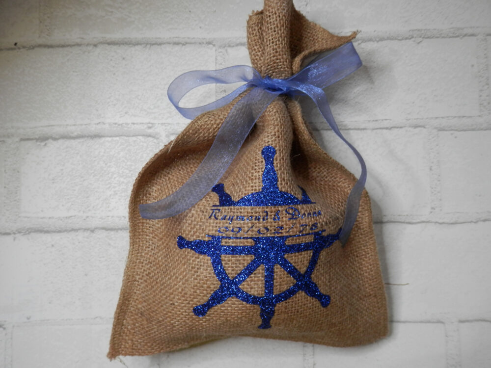 Burlap Wedding Favor, Destination Weddings, Beach Wedding Favors, Anchor Theme, Personalized Bags, Cruise Weddings Favors