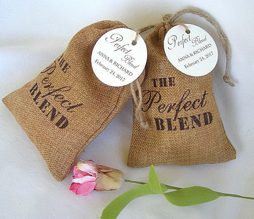 Wedding Favor Bags Personalized Burlap Thank You Rustic Coffee The Perfect Blend Custom W Tags