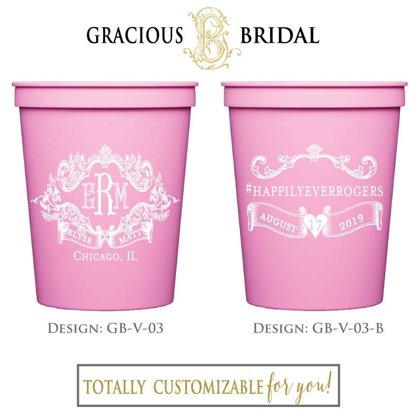 Customized Printed Party Cups, Personalized Monogram Wedding Vintage Wedding, Customizable Favors, Pink Cups