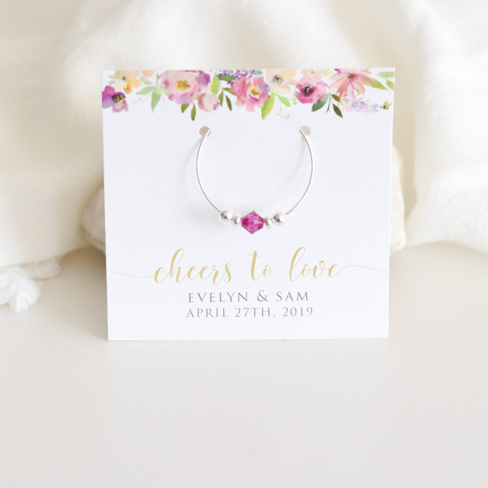 Garden Party Favors Wedding, Floral Wedding Favors, Personalized Gifts For Guests, Outdoor Swarovski Crystal Wine Charms