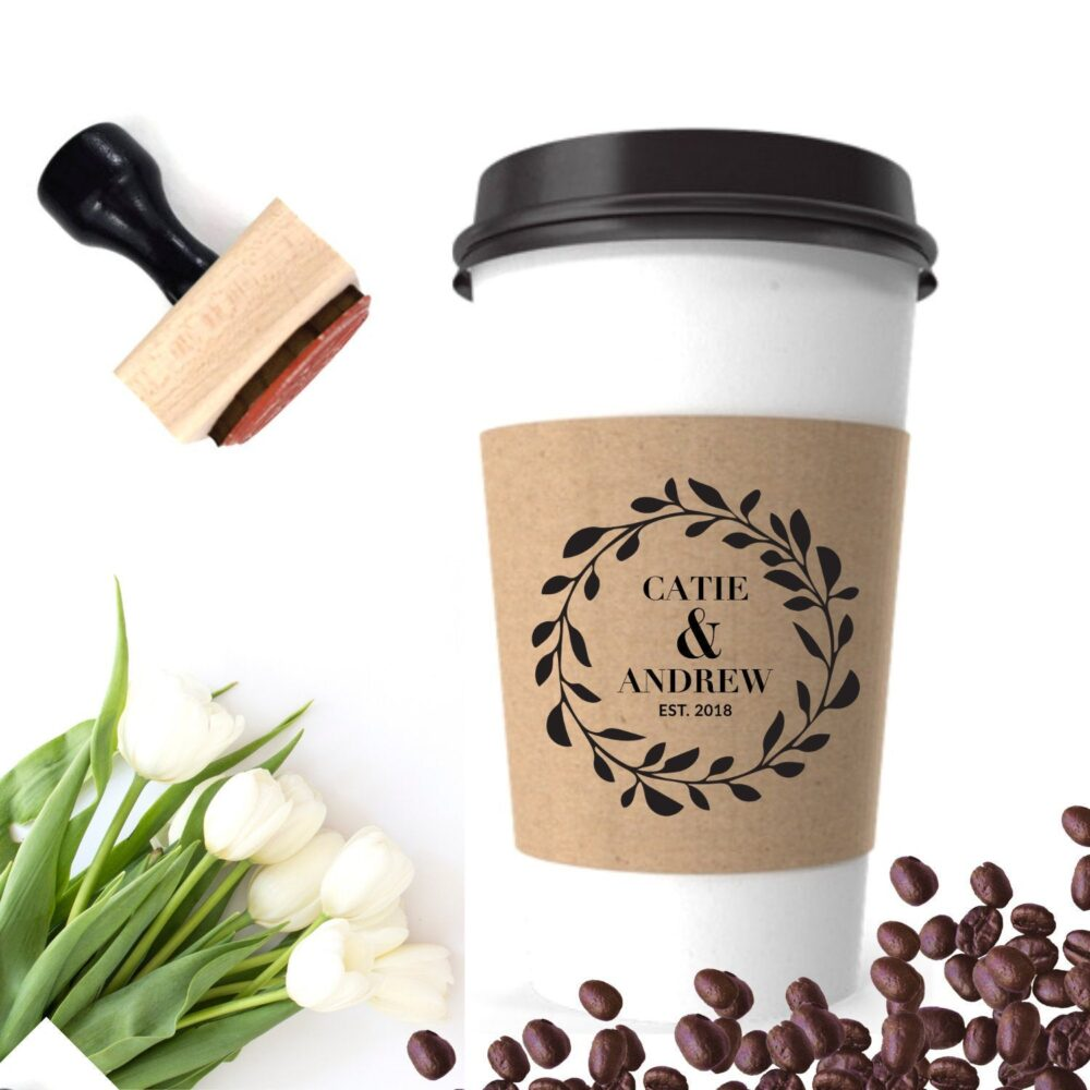 Wedding Coffee Favor, Custom Sleeve Stamp, Personalized Cup Label, Reception Bar Fall Decor, To Go