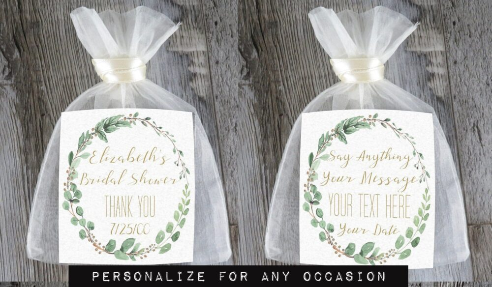 Tea Favors Personalized & Fully Assembled | Any Occasion Wedding Favor Party Bridal Shower Botanical Leaf Wreath - Tf Bl