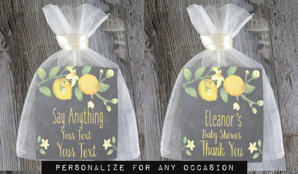 Tea Favors 10 Personalized & Fully Assembled   Any Occasion Wedding Favor Party Bridal Shower Chalk Lemon Branch - Tf Clc