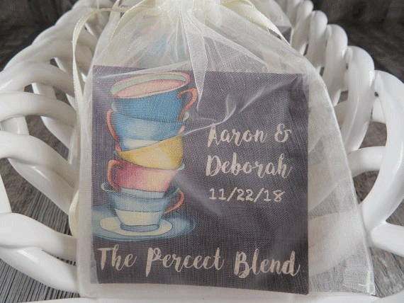 Tea Favors Personalized & Fully Assembled - Any Occasion Wedding Favor Party Bridal Shower Vintage Cup Design -Tf