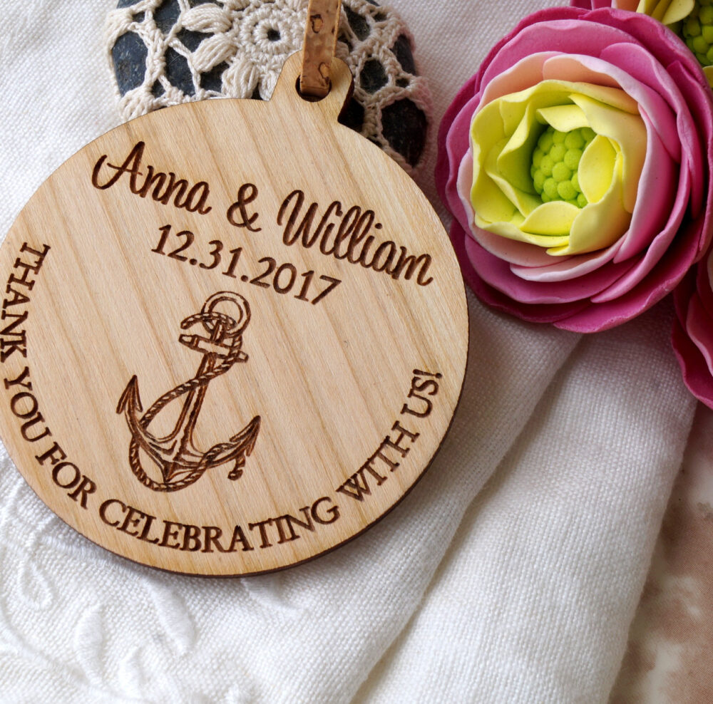 Wedding Favors, Wedding Ornaments, Wooden Beach Nautical Design, Anchor Thank You Gifts, 25 Pc