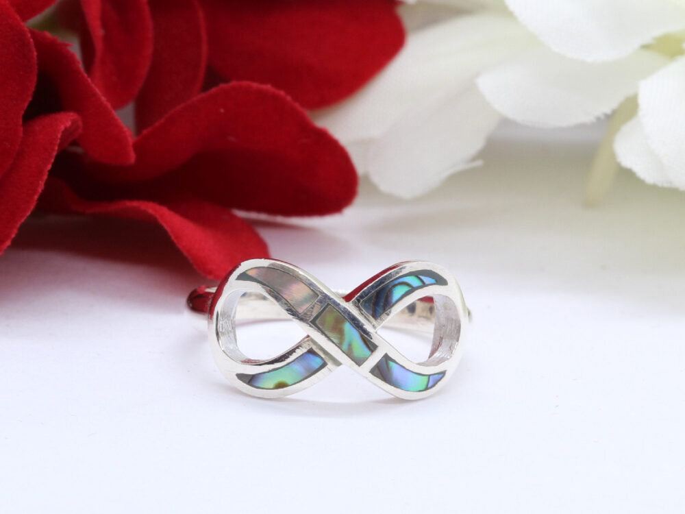 Abalone Infinity Band Ring Solid 925 Sterling Silver Heart, Valentines Gift, Promise