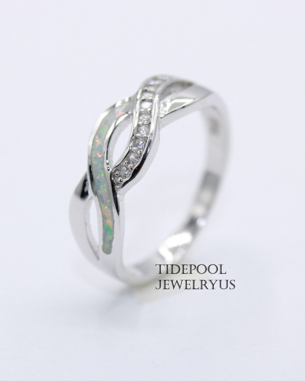 sterling Silver Opal Infinity Band Ring, White Infinity Love Intertwined Braid Gift For Her, Promise Ring