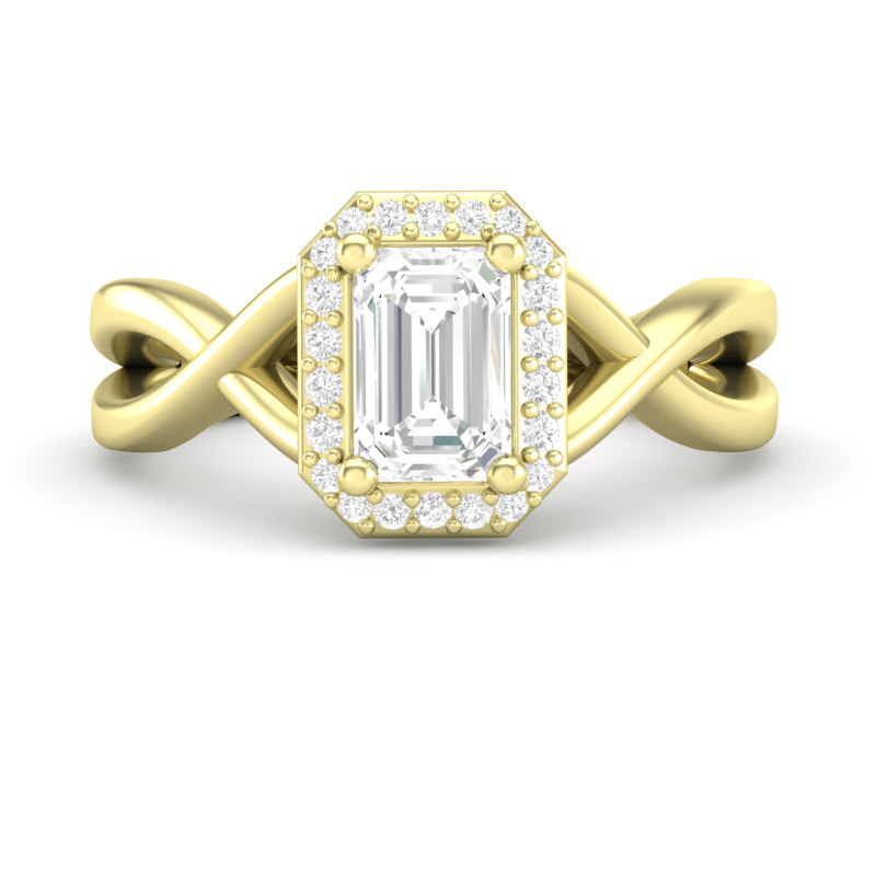 Yellow Gold Emerald Cut Ring, Twisted Halo Infinity Band Ring For Her, Diamond Semi Mount Setting, Forever One Colorless Moissanite