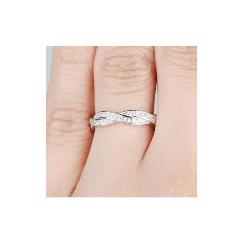Silver Infinity Band Ring, Pave Set Eternity Full Cz Stackable Band, Woven Ring