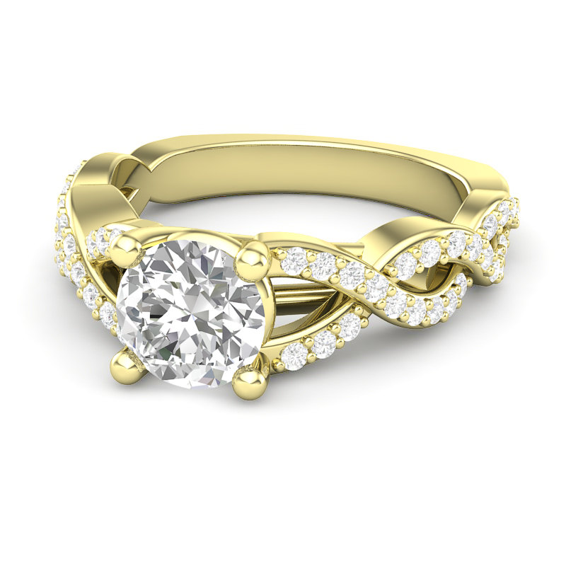 Twisted Infinity Band Ring For Her, 14K Yellow Gold Engagement Ring, Unique Diamond Forever One Moissanite Round Center, Gift Her