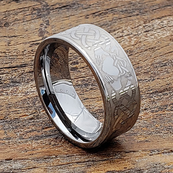 Celtic Claddagh Ring, Promise Tungsten Wedding Band, Knot Commitment Ring