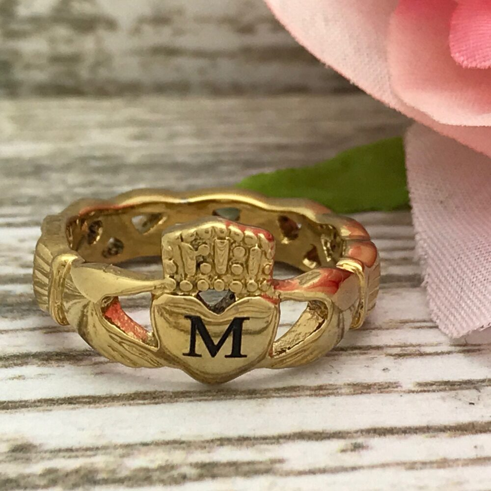 Claddagh Ring, Personalized Engrave Celtic Gold Plated Stainless Steel Wedding Band, Engagement Initial Ring