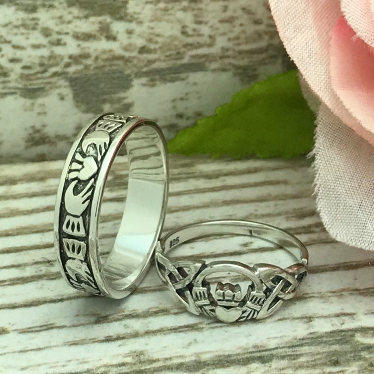 His & Hers Claddagh Rings, 925 Sterling Silver Irish Claddgh Wedding Band, Claddagh Band, Women's Ring, Engagement Rings