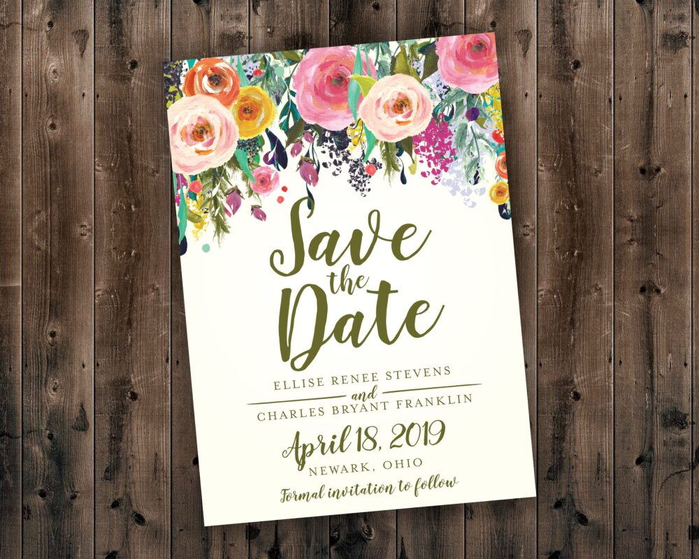 Floral Wedding Save The Date Printed - Date, Affordable, Vintage, Floral, Country, Water Color, Flowers, Cheap, Summer