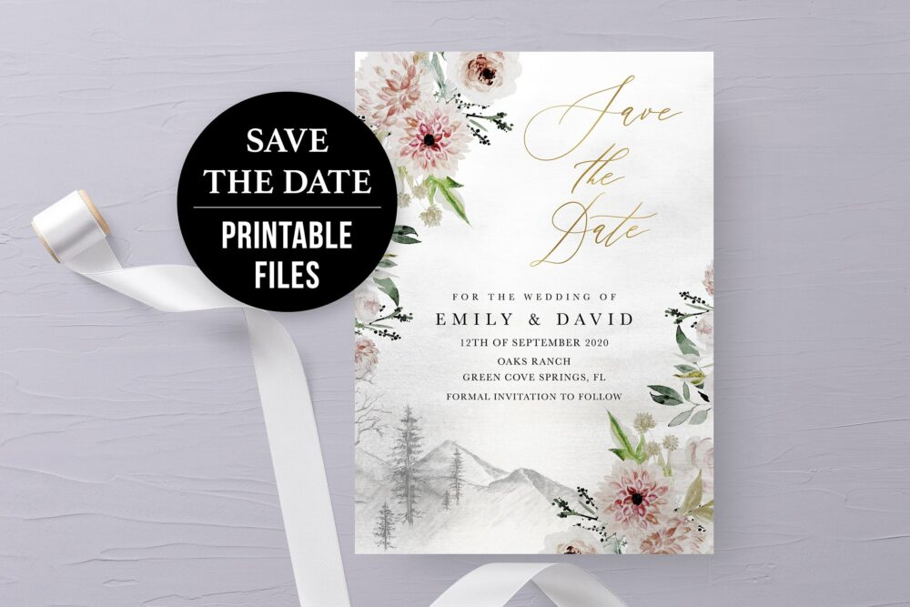 Mountain Save The Date Card Blush Pink Floral Printable Winter Woodland Boho Wedding Save Date