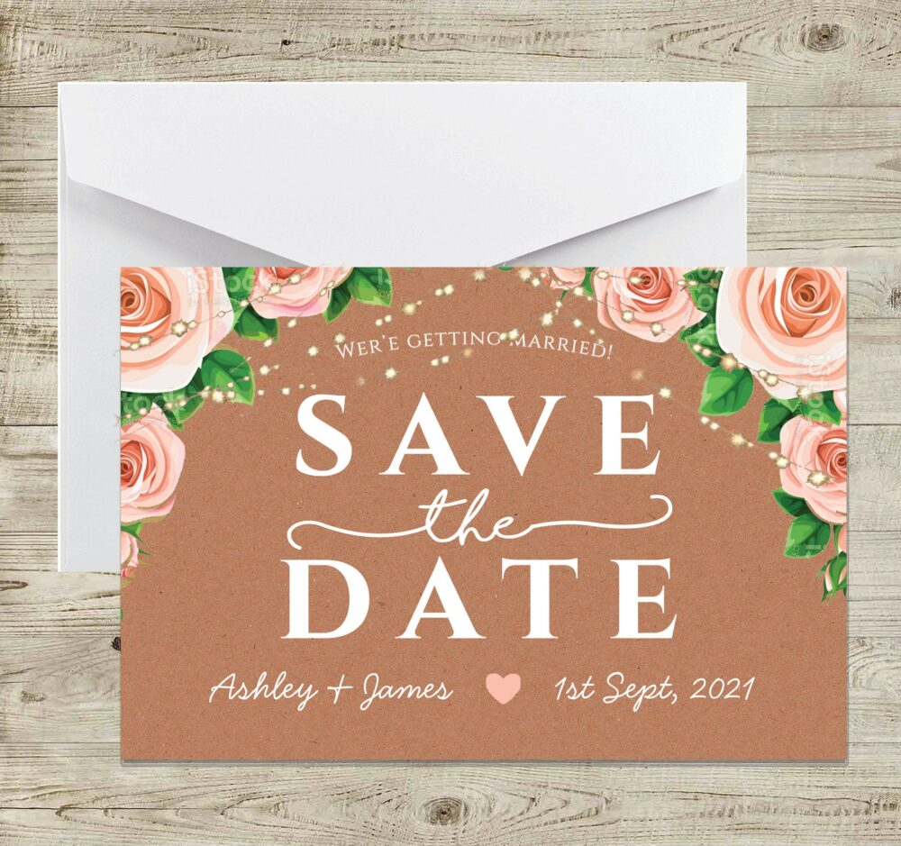 Rustic Save The Dates, Rustic Flowers Floral, Save Date Cards, String Lights, Roses Save The Date, Blush