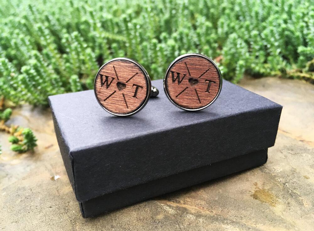 New Personalized Wood Engraved Cufflinks For The Father Of Bride | Groom Anniversary Custom Wedding Initials