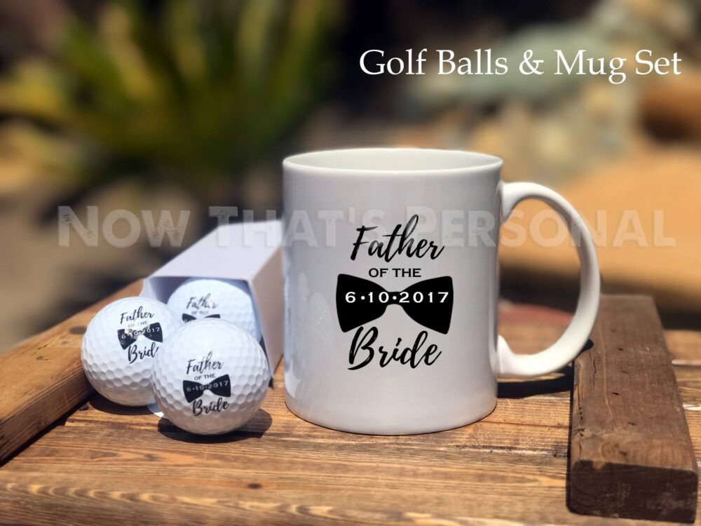 Father Of The Bride, Gift Set, Golf Balls & Mug, Gift For Dad, Wedding, Bride's Father, Bride Gift, Wedding Day Dad